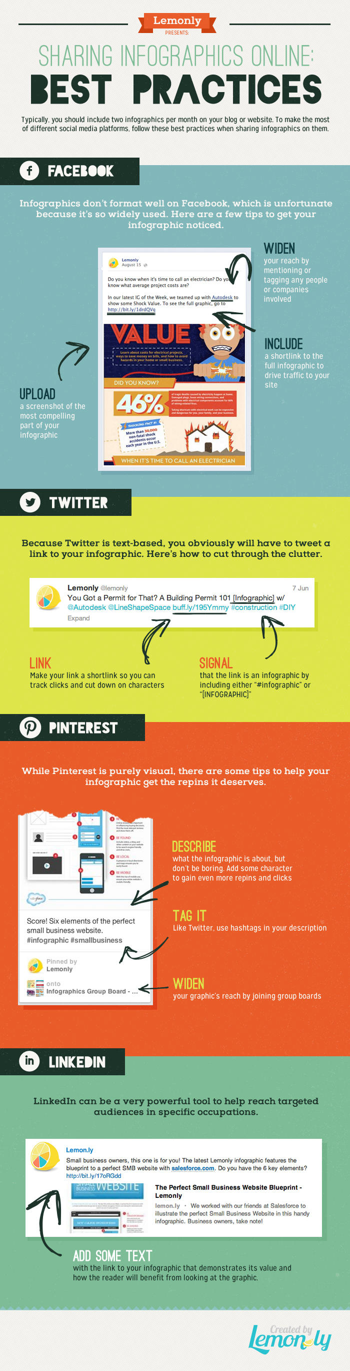 Social Media Best Practices for Sharing Infographics - Info graphic Design by Lemonly